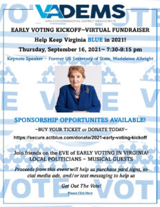 10th CD Democratic Committee's 2021 Early Voting Kickoff with Keynote Speaker, the Honorable Madeleine Albright @ Virtual