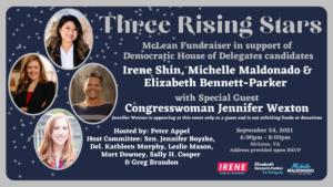 Shin, Maldonado, Bennett-Parker Joint Fundraiser w/ Special Guest, Rep. Jennifer Wexton @ Home of Peter Appel