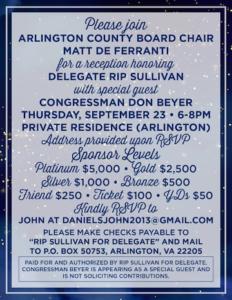 Delegate Sullivan fundraiser with special guests Arlington County Board Chair Matt de Ferranti and Congressman Beyer