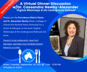 Save the Date: A Virtual Dinner Discussion w/Dr. Cassandra Newby-Alexander @ A Virtual Dinner Discussion w/Dr. Cassandra Newby-Alexander