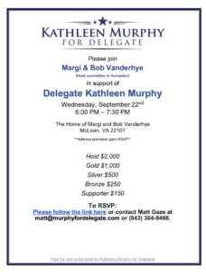Fundraiser in Support of Del. Kathleen Murphy @ The home of Margi & Bob Vanderhye
