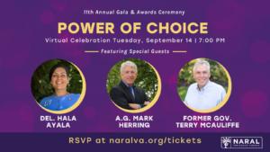 11th Annual NARAL Pro-Choice Virginia Power of Choice Gala @ Zoom