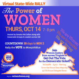Virtual Statewide Rally - THE POWER OF WOMEN - Rally the Vote to #KeepVABlue - 7pm @ Virtual Event