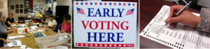 several images depicting early voting