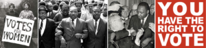Several photos of MLK shaking hands and organizing