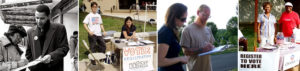 Several photos demonstrating voter registration for the Obama Campaign